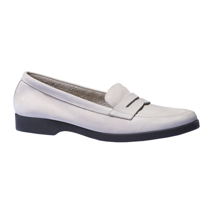 Chaussures en cuir style Penny Loafer flexible, Gris, 516-2112 - 13