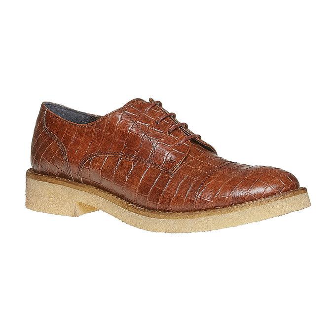 Chaussure lacée femme imitation cuir de crocodile bata, Brun, 521-3317 - 13