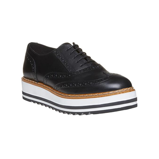 Chaussures en cuir à flatform bata, Noir, 524-6255 - 13