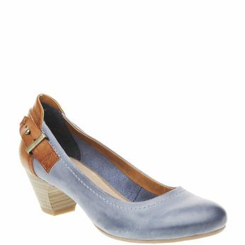 Escarpin en cuir avec lanière bata, Bleu, 624-9391 - 13