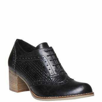 Chaussure lacée en cuir à talon bata, Noir, 624-6386 - 13