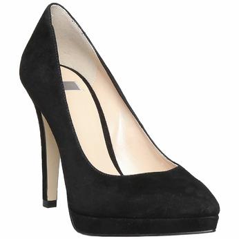 Escarpin en cuir noir bata, Noir, 723-6706 - 13