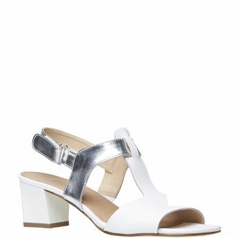 Sandale blanche pour femme à talon large bata, Blanc, 764-1551 - 13
