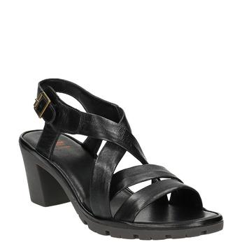 Sandale en cuir femme flexible, Noir, 764-6538 - 13