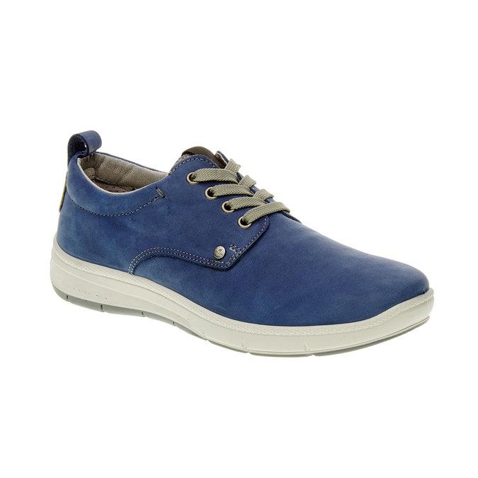 Chaussure lacée décontractée en cuir, Bleu, 843-9630 - 13