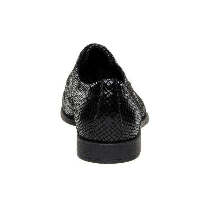 Chaussure lacée en cuir avec motif peau de serpent vagabond, Noir, 526-6008 - 17