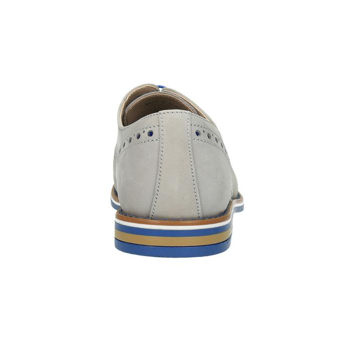 Chaussure lacée en cuir avec semelle colorée bata, Gris, 826-2839 - 17