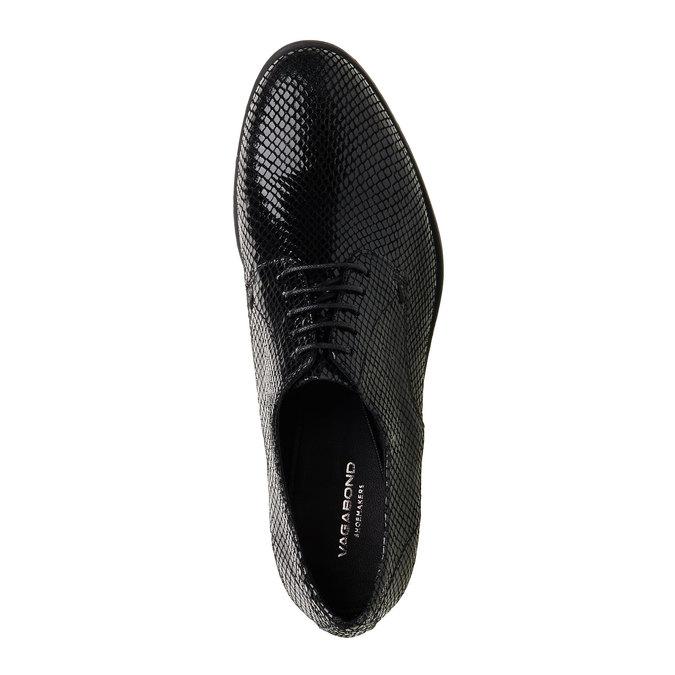 Chaussure lacée en cuir avec motif peau de serpent vagabond, Noir, 526-6008 - 19