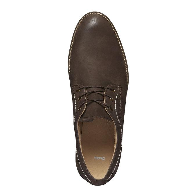 Chaussure lacée en cuir surpiquée bata, Brun, 826-4642 - 19