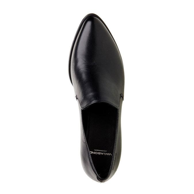 Chaussure basse en cuir à talon vagabond, Noir, 614-6006 - 19
