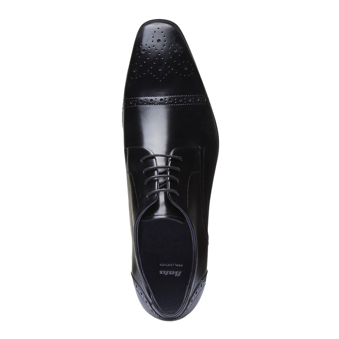 Chaussure lacée Derby en cuir avec décoration bata, Noir, 824-6274 - 19