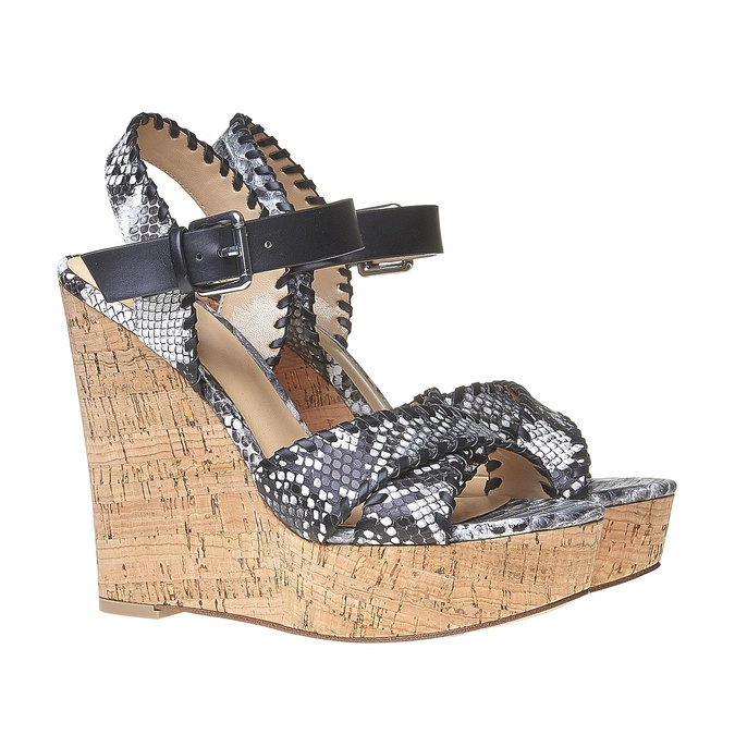 Sandale à plateforme bata, Noir, 761-6527 - 26