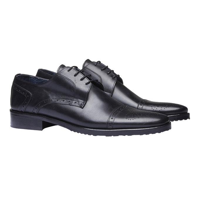 Chaussure lacée Derby en cuir bata, Noir, 824-6809 - 26