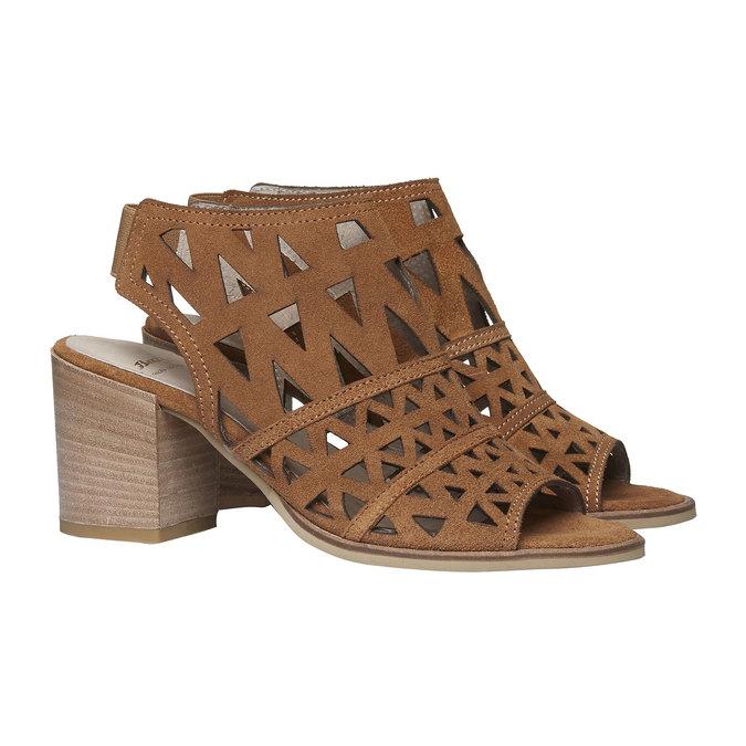 Sandale en cuir à talon large bata, Jaune, 763-8532 - 26
