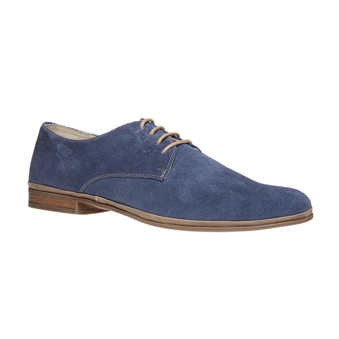 Chaussure lacée en cuir chamoisé bata, Bleu, 823-9752 - 13