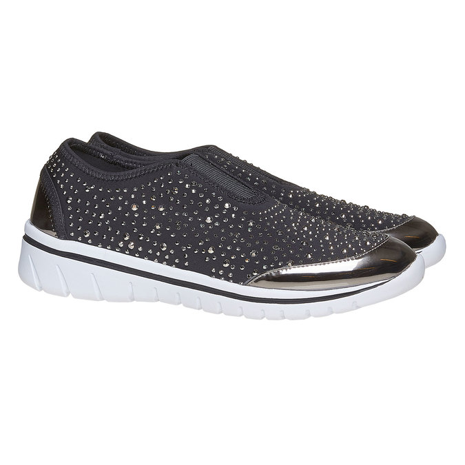Tennis Slip-on avec petites pierres north-star, Gris, 539-2109 - 26