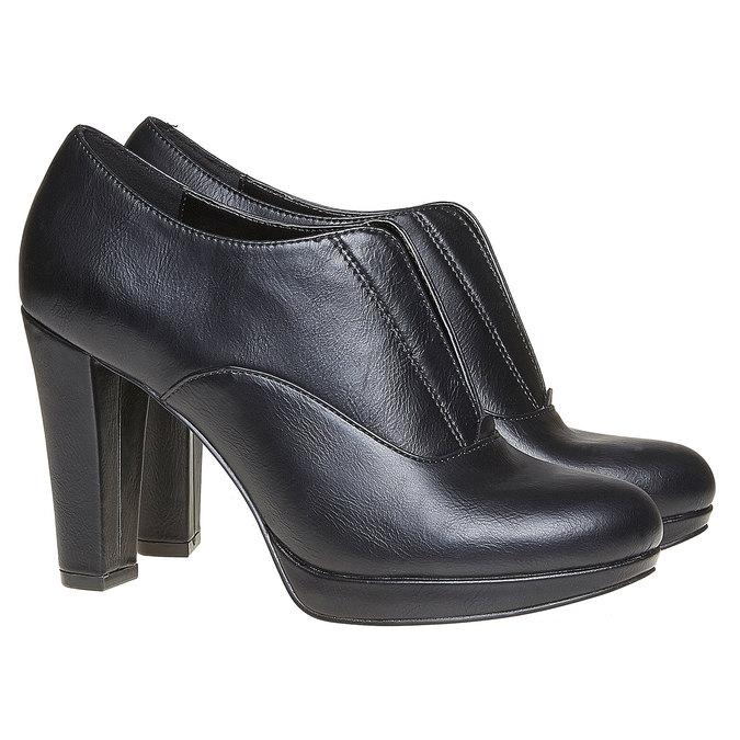 Chaussure lacée femme à talon haut bata, Noir, 721-6289 - 26