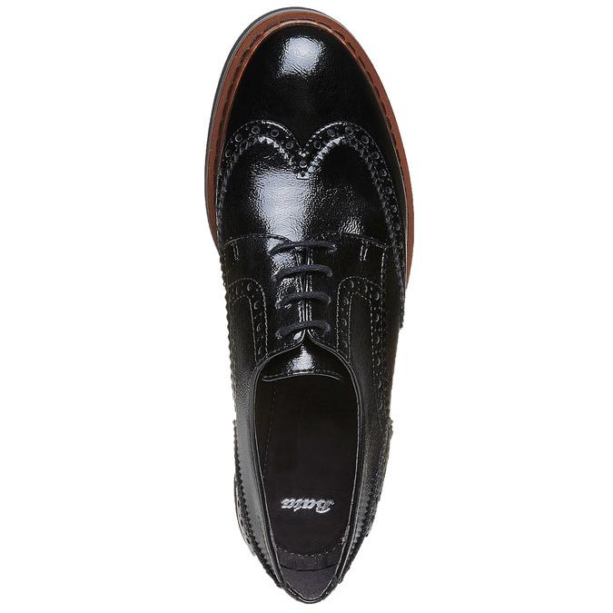 Chaussure lacée à semelle épaisse avec motifs Brogue bata, Noir, 521-6356 - 19