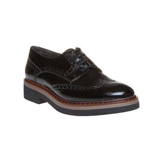Chaussure lacée à semelle épaisse avec motifs Brogue bata, Noir, 521-6356 - 13