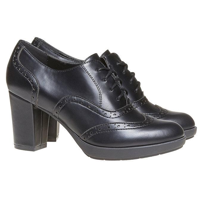 Chaussure Oxford femme à talon bata, Noir, 721-6225 - 26