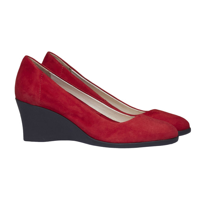 Escarpin en cuir à talon compensé flexible, Rouge, 623-5395 - 26