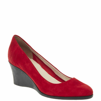 Escarpin en cuir à talon compensé flexible, Rouge, 623-5395 - 13