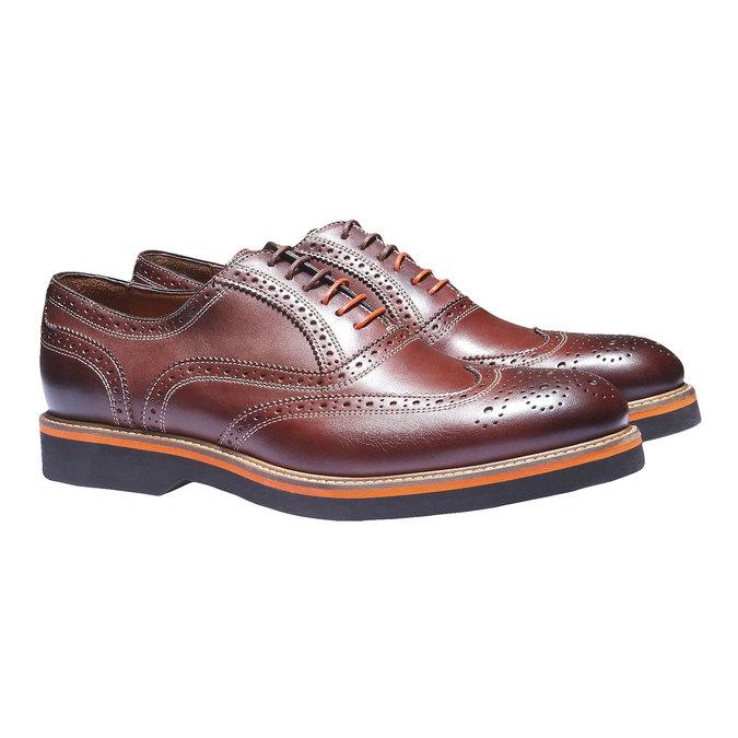 Chaussures en cuir Oxford à semelle contrastée shoemaker, Brun, 824-4132 - 26