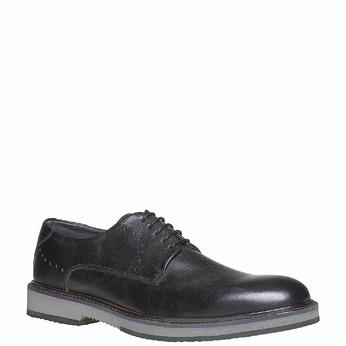 Chaussure lacée en cuir à semelle épaisse bata-light, Noir, 824-6643 - 13