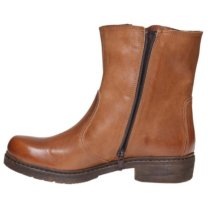 Bottine en cuir à zip weinbrenner, Brun, 594-3107 - 19