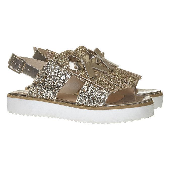 Sandale à paillettes et semelle épaisse bata, Jaune, 569-8390 - 26