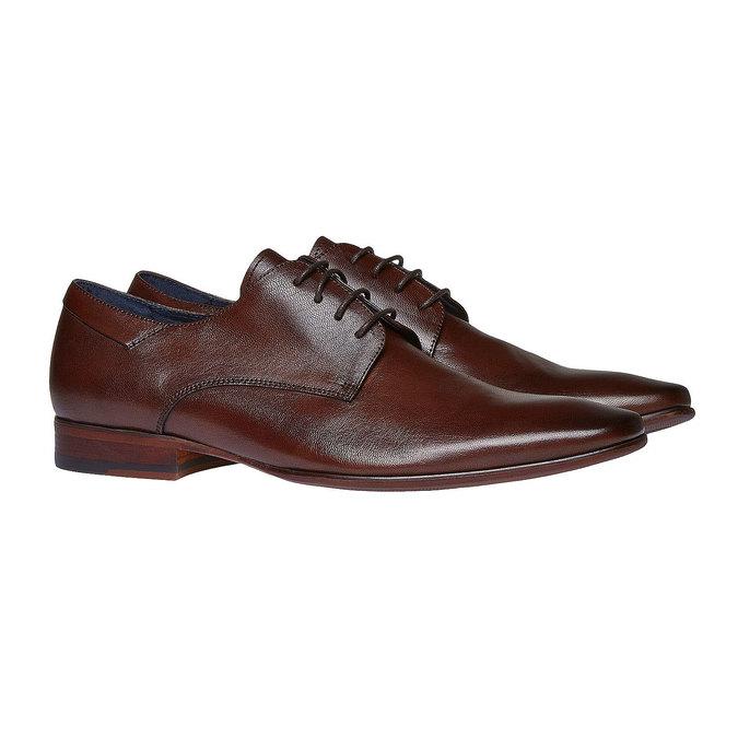 Chaussure lacée Derby en cuir bata, Brun, 824-4536 - 26