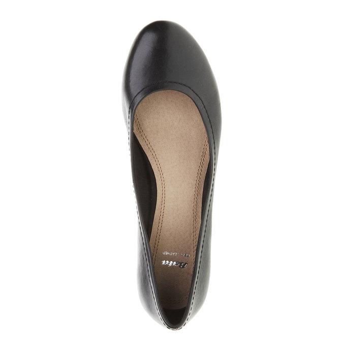 Escarpin en cuir noir bata, Noir, 624-6390 - 19