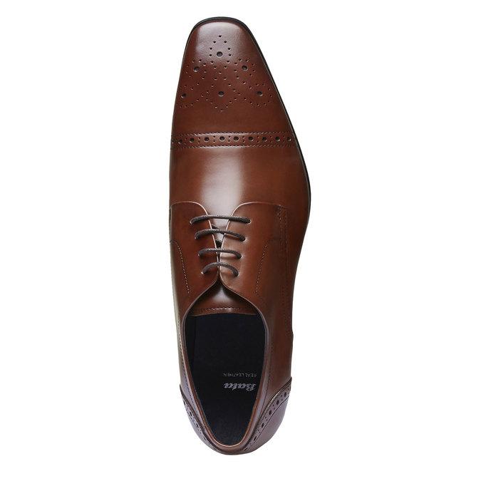 Chaussure lacée Derby en cuir avec décoration bata, Brun, 824-4274 - 19