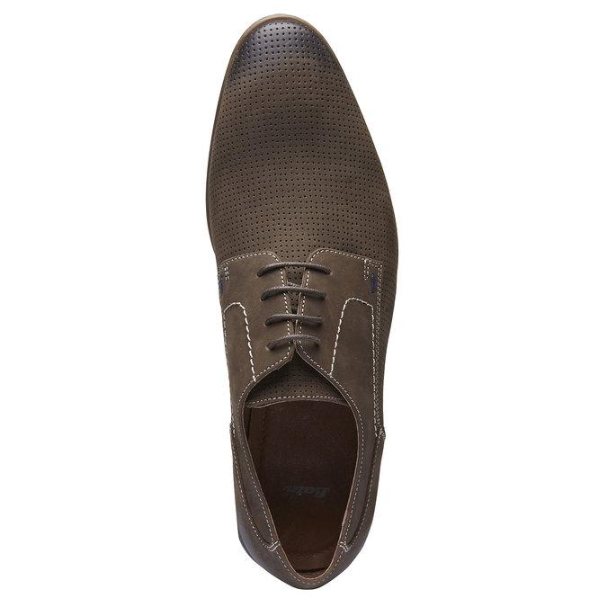 Chaussure lacée en cuir perforé pour homme bata, Brun, 826-4832 - 19