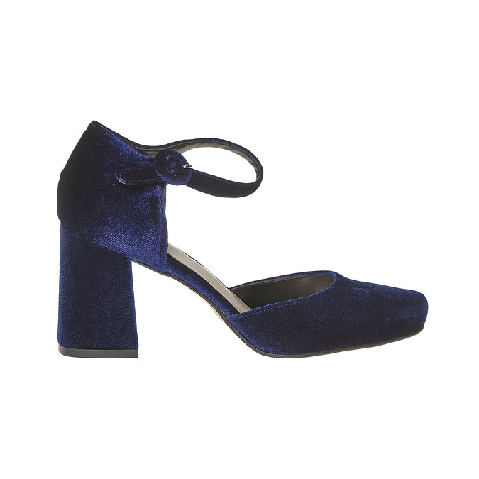 Escarpin femme ouvert sur les côtés bata, Bleu, 729-9177 - 15