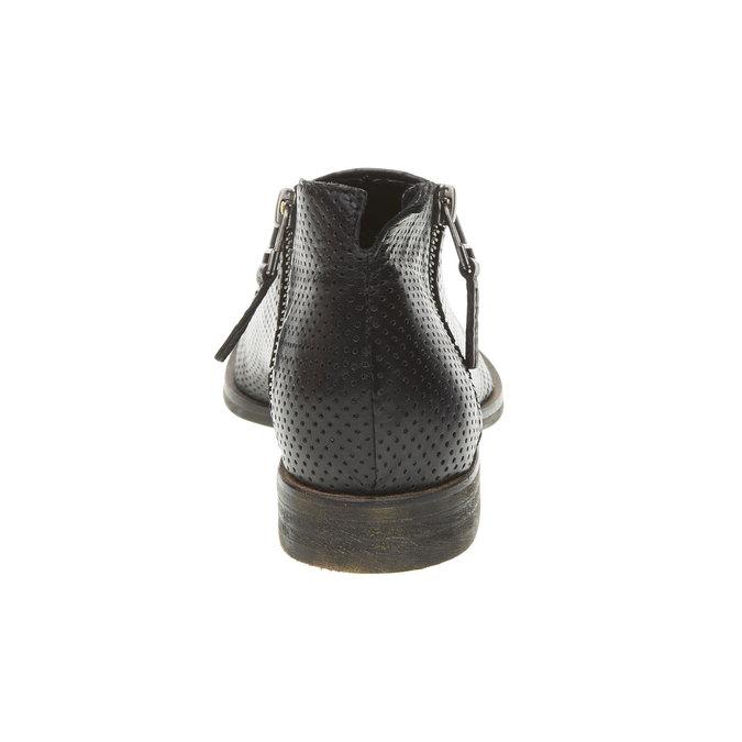 Bottine en cuir avec perforation bata, Noir, 594-6400 - 17