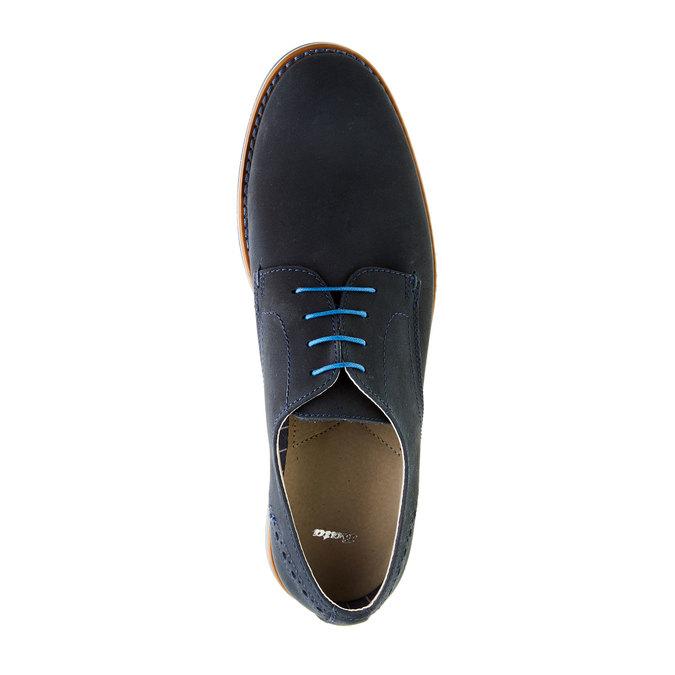 Chaussure lacée en cuir avec semelle colorée bata, Bleu, 826-9839 - 19