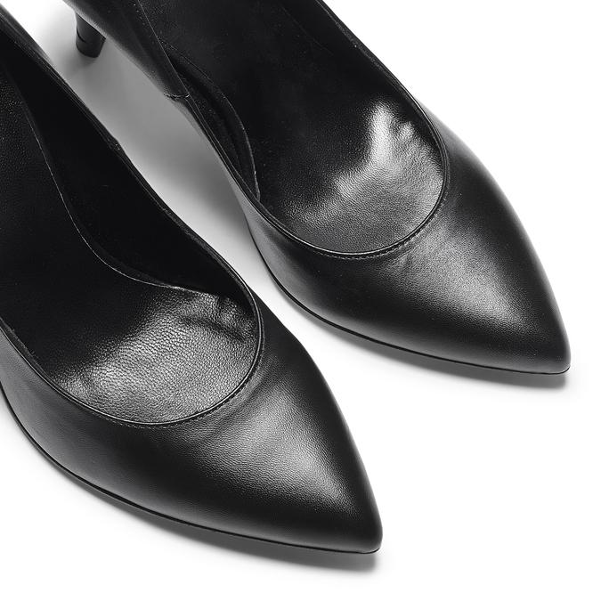 Escarpin pointu en cuir noir bata, Noir, 724-6607 - 19