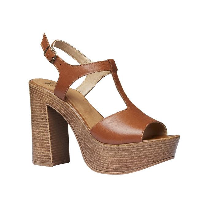 Sandale femme à talon massif bata, Brun, 764-4509 - 13