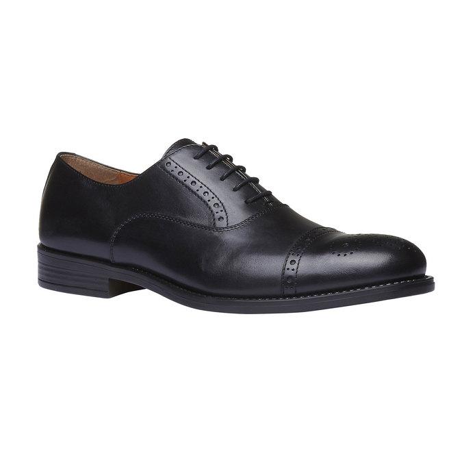 Chaussure lacée en cuir avec décoration Brogue bata, Noir, 824-6803 - 13