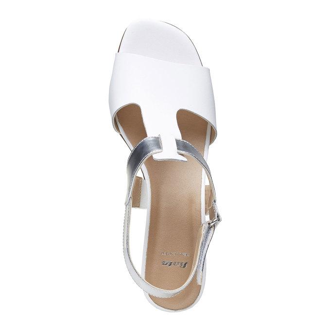 Sandale blanche pour femme à talon large bata, Blanc, 764-1551 - 19