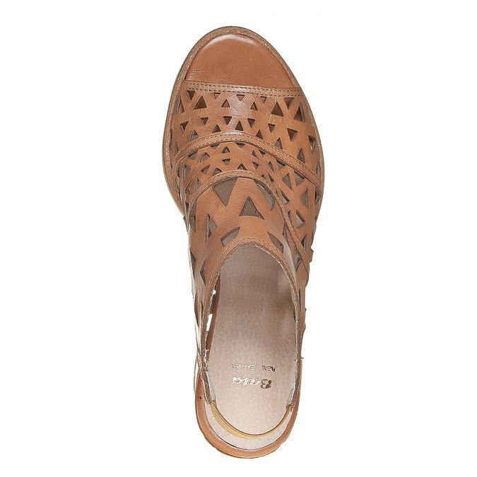 Sandale en cuir à talon large bata, Brun, 764-3532 - 19