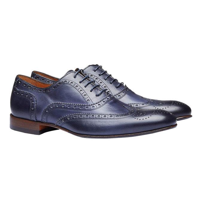 Chaussure lacée en cuir pour homme avec décoration shoemaker, Violet, 824-9145 - 26