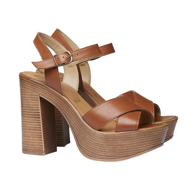 Sandale femme avec lanières en cuir bata, Brun, 764-4511 - 26