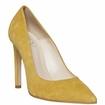 Escarpin en cuir jaune à talon aiguille insolia, Jaune, 723-8867 - 13