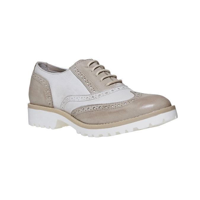 Chaussure lacée en cuir décoration Brogue bata, Gris, 524-2129 - 13