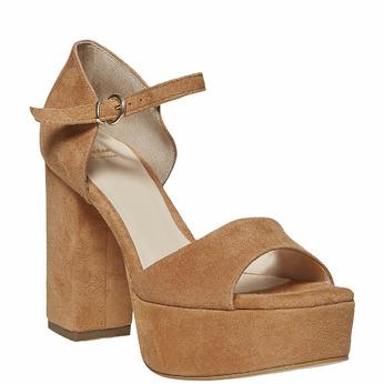 Sandale en cuir à talon massif bata, Brun, 763-3568 - 13