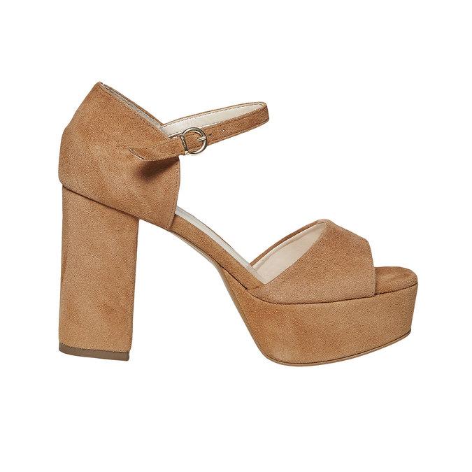 Sandale en cuir à talon massif bata, Brun, 763-3568 - 15