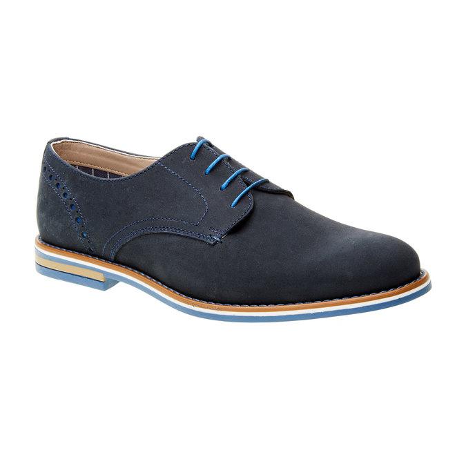 Chaussure lacée en cuir avec semelle colorée bata, Bleu, 826-9839 - 13