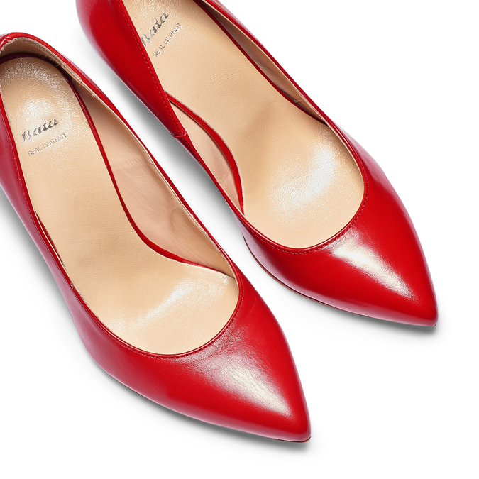 Escarpin rouge en cuir bata, Rouge, 724-5607 - 26